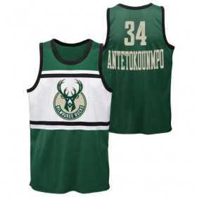 Estibador NBA Giannis Antetokounmpo Milwaukee Bucks Player sublimated Shooter Verde para hombre
