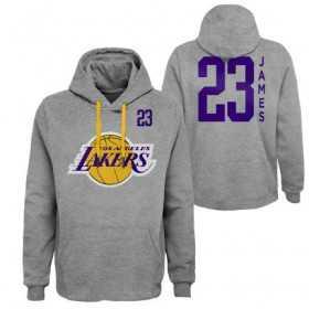 EK2M1BBTL-LAKJL_Sweat à Capuche NBA Lebron James Los Angeles Lakers Gris pour Homme