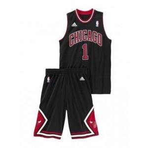 Adidas NBA junior jersey+short D-Rose Bulls Noir