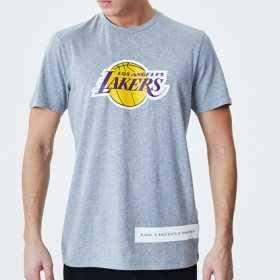 12195400_T-Shirt NBA Los Angeles Lakers New Era Block Wordmark Gris pour Homme