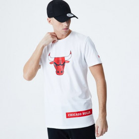 12195402_T-Shirt NBA Chicago Bulls New Era Block Wordmark BLanc pour Homme