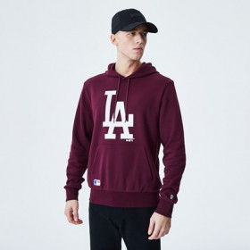 12195435_Sweat à capuche MLB Los Angeles Dodgers New Era Seasonal Team Logo Rouge pour homme