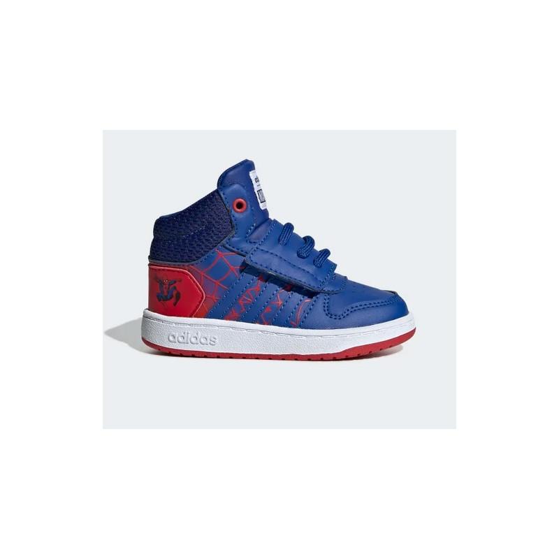 """EG7902_Chaussure adidas Hoops Mid """"Spiderman"""" rouge pour bébé"""