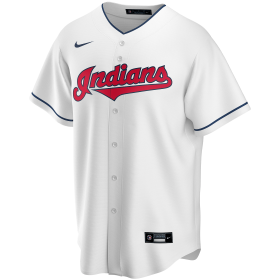 T770-IDWH_Maillot de Baseball MLB Cleveland Indians Nike Replica Home Blanc pour Homme