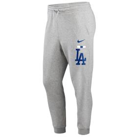 N80406GLDBSC_Pantalon MLB Los Angeles Dodgers Nike Color Bar Club Fleece Gris pour homme