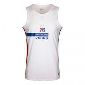 12195404_Débardeur NBA Philadelphia 76ers New Era Block Wordmark Blanc pour homme