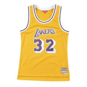Maillot NBA Magic Johnson Los Angeles Lakers 1984-85 Hardwood Classics Mitchell & ness jaune pour femme