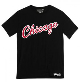 T-Shirt NBA Chicago Bulls Mitchell & ness Team Wordmark Noir pour Homme