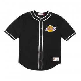 Maillot de Baseball NBA Los Angeles Lakers Mitchell & ness Mesh Cotton Button Noir