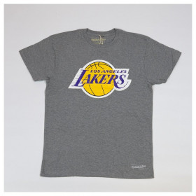 T-Shirt NBA Los Angeles Lakers Mitchell & ness Team Logo Table Gris pour Homme