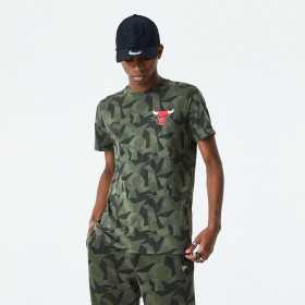 12485741_T-Shirt NBA Chicago Bulls New Era Geometric Camo Vert Pour Homme