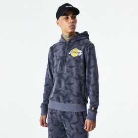 12485747_Sweat à capuche NBA Los Angeles Lakers New Era Geometric Camo Hoody Gris pour homme