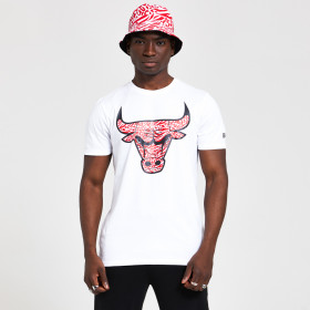 12369779_T-Shirt NBA Chicago Bulls New Era Print Infill Blanc Pour Homme