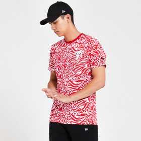12369811_T-Shirt NBA Chicago Bulls New Era Imprimé rouge Pour Homme
