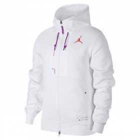 CK6446-100_Veste à capuche Zippé Jordan Fleece Blanc Camo pour homme