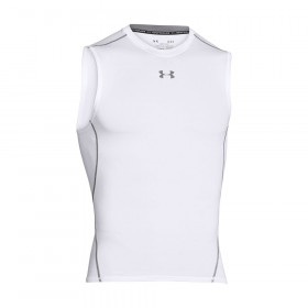 1257469-100_Maillot de compression sans manche Under Armour HeatGear Blanc pour homme