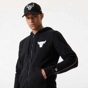 Sweat Zippé NBA Chicago Bulls New Era Back fade Noir pour homme