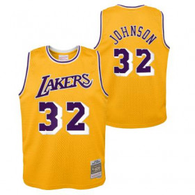 Maillot NBA Magic Johnson Los Angeles Lakers 1984 Mitchell & ness Hardwood Classic Jaune Pour enfant