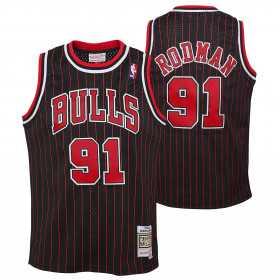 Kid's Mitchell & Ness Hardwood Classic NBA Jersey Dennis Rodman Chicago Bulls 1995 Black Striped