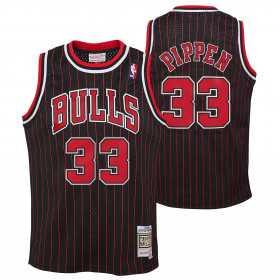 Maillot NBA Scottie Pippen Chicago Bulls 1995 Mitchell & Ness Hardwood Classic rayé Noir Pour enfant