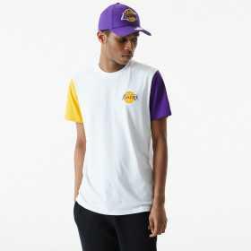 T-Shirt NBA Los Angeles Lakers New Era Color Block Blanc Pour Homme