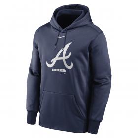 Men's Nike Logo Therma Performance Pullover Hoodie MLB Atlanta Braves Navy