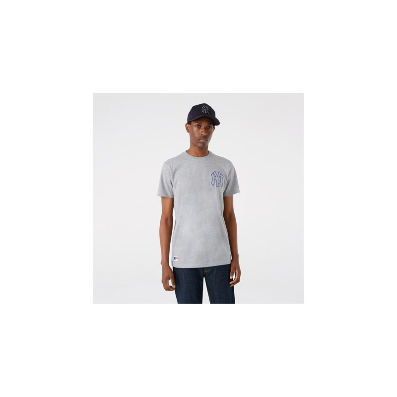 T-Shirt MLB New York Yankees New Era Chain Stitch Gris pour Homme