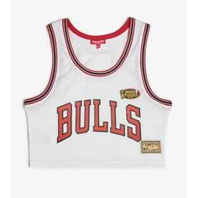 Maillot NBA Chicago Bulls Mitchell & ness Mesh Crop top Blanc pour femme