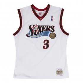 Maillot NBA Allen Iverson Philadelphia 76ers 2000-01 Mitchell & Ness Hardwood Classic Blanc Pour enfant