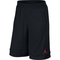 Short de Basket Jordan Fleece Noir Logo Rouge