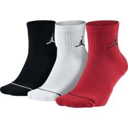 Chaussettes Jordan quarter noir blanche rouge 3 paires